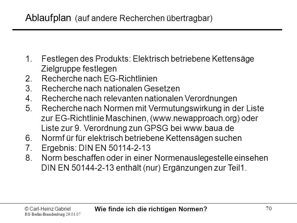 © Carl-Heinz Gabriel RG Berlin-Brandenburg 29.01.07 Wie finde ich die richtigen Normen? 70 Ablaufplan (auf andere Recherchen übertragbar) 1. Festlegen