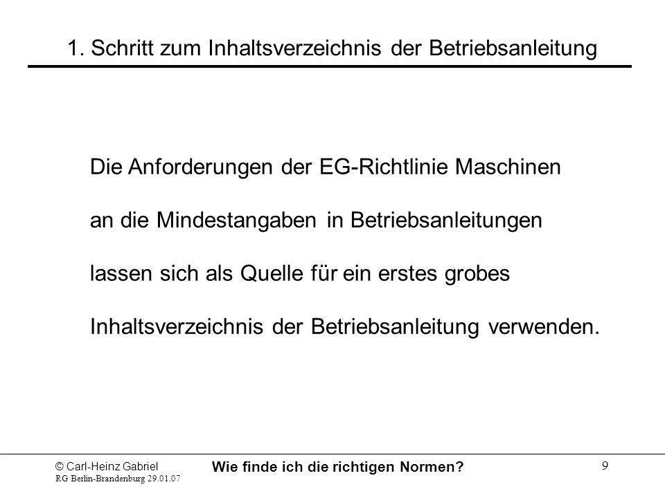 © Carl-Heinz Gabriel RG Berlin-Brandenburg 29.01.07 Wie finde ich die richtigen Normen? 9 Die Anforderungen der EG-Richtlinie Maschinen an die Mindest