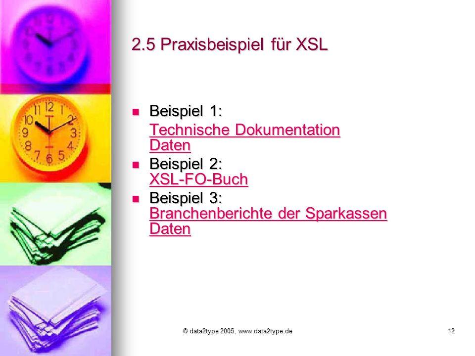 © data2type 2005, www.data2type.de12 2.5 Praxisbeispiel für XSL Beispiel 1: Beispiel 1: Technische Dokumentation Daten Technische Dokumentation Daten Beispiel 2: XSL-FO-Buch Beispiel 2: XSL-FO-Buch XSL-FO-Buch Beispiel 3: Branchenberichte der Sparkassen Daten Beispiel 3: Branchenberichte der Sparkassen Daten Branchenberichte der Sparkassen Daten Branchenberichte der Sparkassen Daten