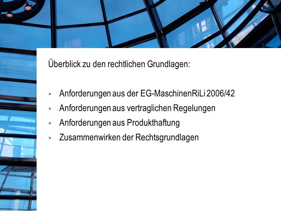Überblick zu den rechtlichen Grundlagen: Anforderungen aus der EG-MaschinenRiLi 2006/42 Anforderungen aus vertraglichen Regelungen Anforderungen aus Produkthaftung Zusammenwirken der Rechtsgrundlagen