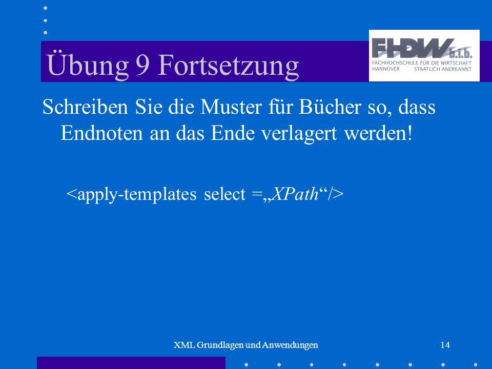 XML Grundlagen und Anwendungen14 Übung 9 Fortsetzung Schreiben Sie die Muster für Bücher so, dass Endnoten an das Ende verlagert werden!