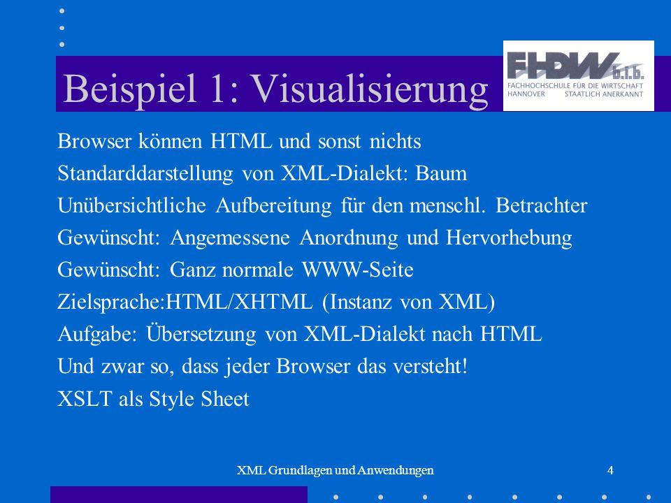XML Grundlagen und Anwendungen4 Beispiel 1: Visualisierung Browser können HTML und sonst nichts Standarddarstellung von XML-Dialekt: Baum Unübersichtliche Aufbereitung für den menschl.