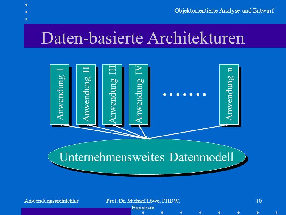 Objektorientierte Analyse und Entwurf AnwendungsarchitekturProf. Dr. Michael Löwe, FHDW, Hannover 10 Daten-basierte Architekturen Unternehmensweites D