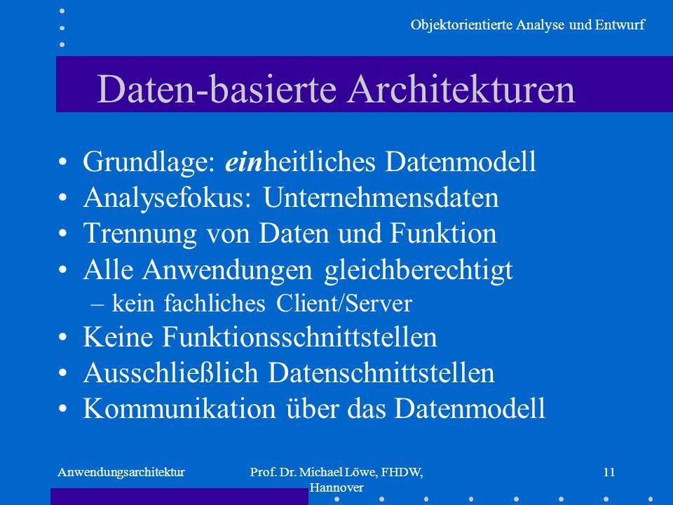 Objektorientierte Analyse und Entwurf AnwendungsarchitekturProf. Dr. Michael Löwe, FHDW, Hannover 11 Daten-basierte Architekturen Grundlage: einheitli
