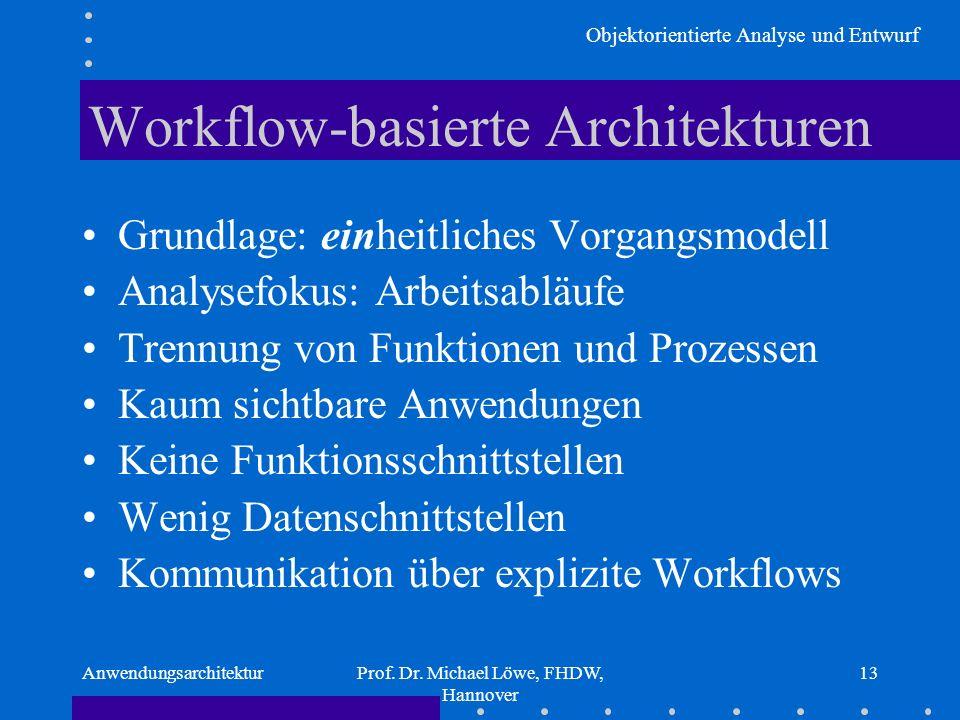 Objektorientierte Analyse und Entwurf AnwendungsarchitekturProf. Dr. Michael Löwe, FHDW, Hannover 13 Workflow-basierte Architekturen Grundlage: einhei