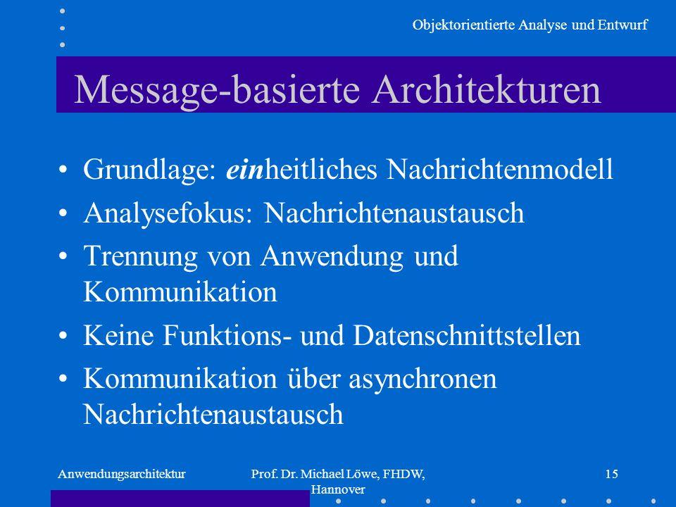 Objektorientierte Analyse und Entwurf AnwendungsarchitekturProf. Dr. Michael Löwe, FHDW, Hannover 15 Message-basierte Architekturen Grundlage: einheit