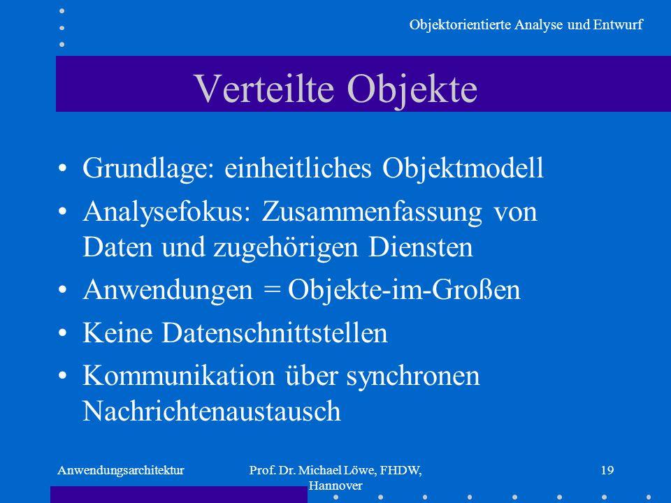 Objektorientierte Analyse und Entwurf AnwendungsarchitekturProf. Dr. Michael Löwe, FHDW, Hannover 19 Verteilte Objekte Grundlage: einheitliches Objekt