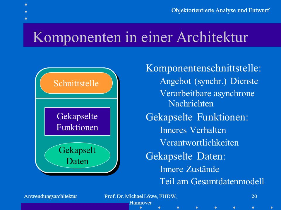 Objektorientierte Analyse und Entwurf AnwendungsarchitekturProf. Dr. Michael Löwe, FHDW, Hannover 20 Komponenten in einer Architektur Komponentenschni