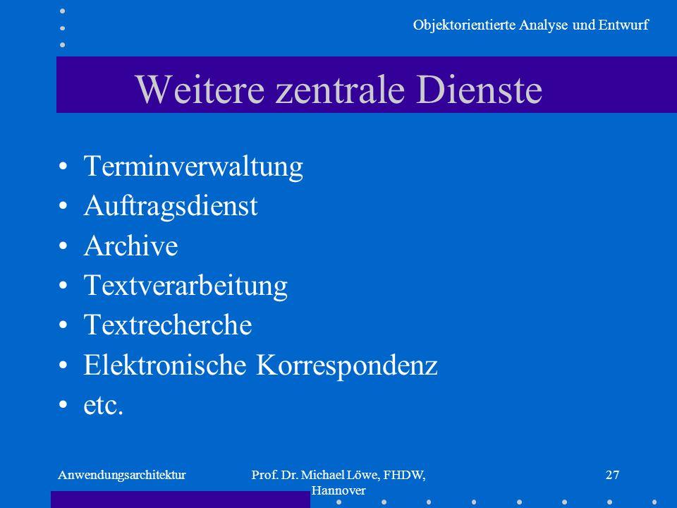 Objektorientierte Analyse und Entwurf AnwendungsarchitekturProf. Dr. Michael Löwe, FHDW, Hannover 27 Weitere zentrale Dienste Terminverwaltung Auftrag