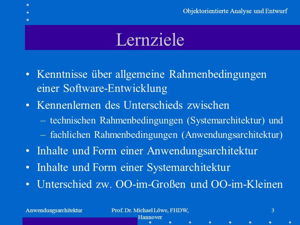 Objektorientierte Analyse und Entwurf AnwendungsarchitekturProf. Dr. Michael Löwe, FHDW, Hannover 3 Lernziele Kenntnisse über allgemeine Rahmenbedingu