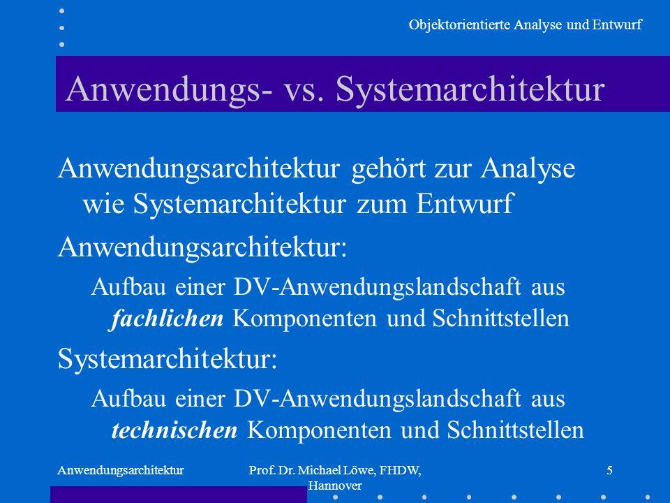 Objektorientierte Analyse und Entwurf AnwendungsarchitekturProf. Dr. Michael Löwe, FHDW, Hannover 5 Anwendungs- vs. Systemarchitektur Anwendungsarchit