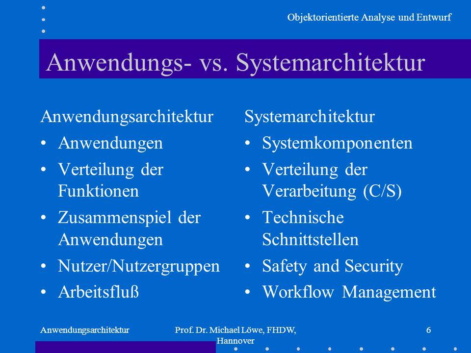 Objektorientierte Analyse und Entwurf AnwendungsarchitekturProf. Dr. Michael Löwe, FHDW, Hannover 6 Anwendungs- vs. Systemarchitektur Anwendungsarchit