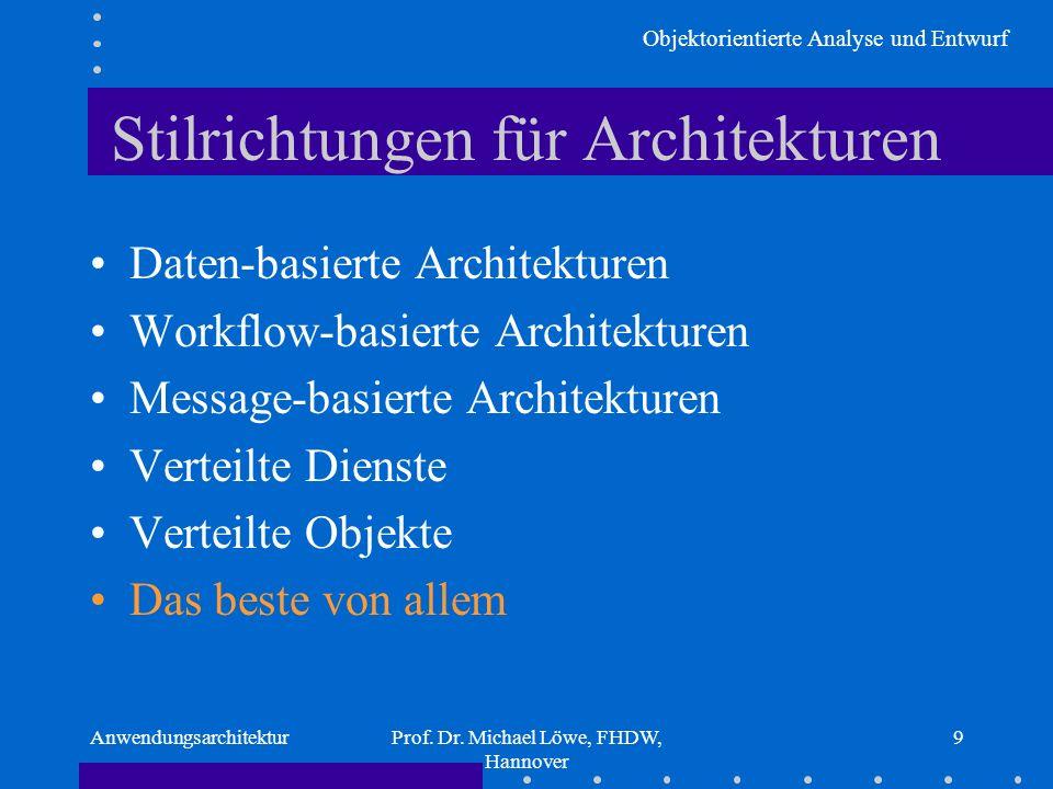 Objektorientierte Analyse und Entwurf AnwendungsarchitekturProf. Dr. Michael Löwe, FHDW, Hannover 9 Stilrichtungen für Architekturen Daten-basierte Ar