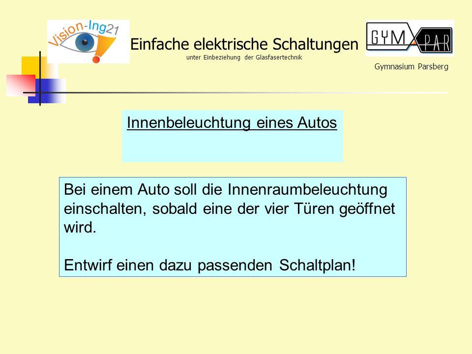 Gymnasium Parsberg Einfache elektrische Schaltungen unter Einbeziehung der Glasfasertechnik Innenbeleuchtung eines Autos Bei einem Auto soll die Innen