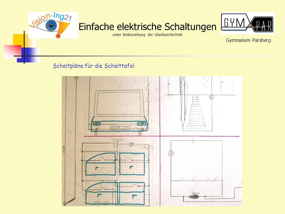 Gymnasium Parsberg Einfache elektrische Schaltungen unter Einbeziehung der Glasfasertechnik Schaltpläne für die Schalttafel