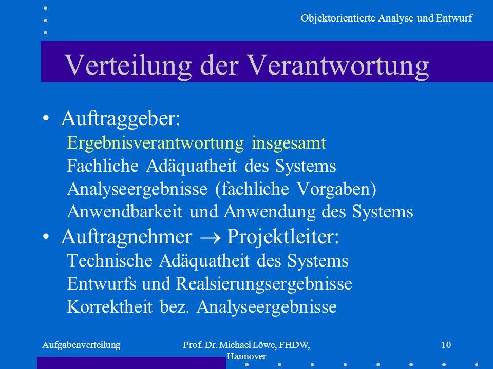 Objektorientierte Analyse und Entwurf AufgabenverteilungProf. Dr. Michael Löwe, FHDW, Hannover 10 Verteilung der Verantwortung Auftraggeber: Ergebnisv