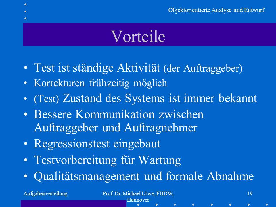 Objektorientierte Analyse und Entwurf AufgabenverteilungProf. Dr. Michael Löwe, FHDW, Hannover 19 Vorteile Test ist ständige Aktivität (der Auftraggeb
