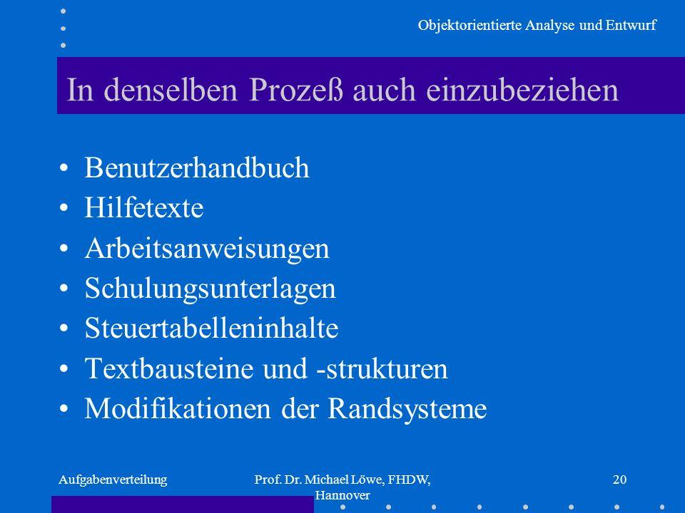 Objektorientierte Analyse und Entwurf AufgabenverteilungProf. Dr. Michael Löwe, FHDW, Hannover 20 In denselben Prozeß auch einzubeziehen Benutzerhandb