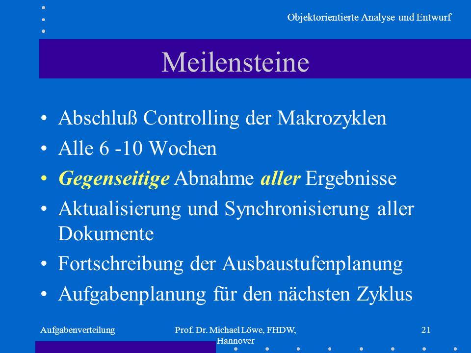 Objektorientierte Analyse und Entwurf AufgabenverteilungProf. Dr. Michael Löwe, FHDW, Hannover 21 Meilensteine Abschluß Controlling der Makrozyklen Al