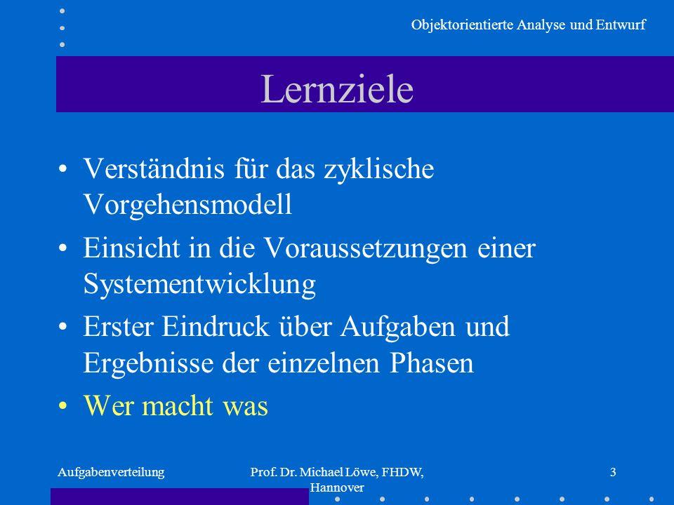 Objektorientierte Analyse und Entwurf AufgabenverteilungProf. Dr. Michael Löwe, FHDW, Hannover 3 Lernziele Verständnis für das zyklische Vorgehensmode