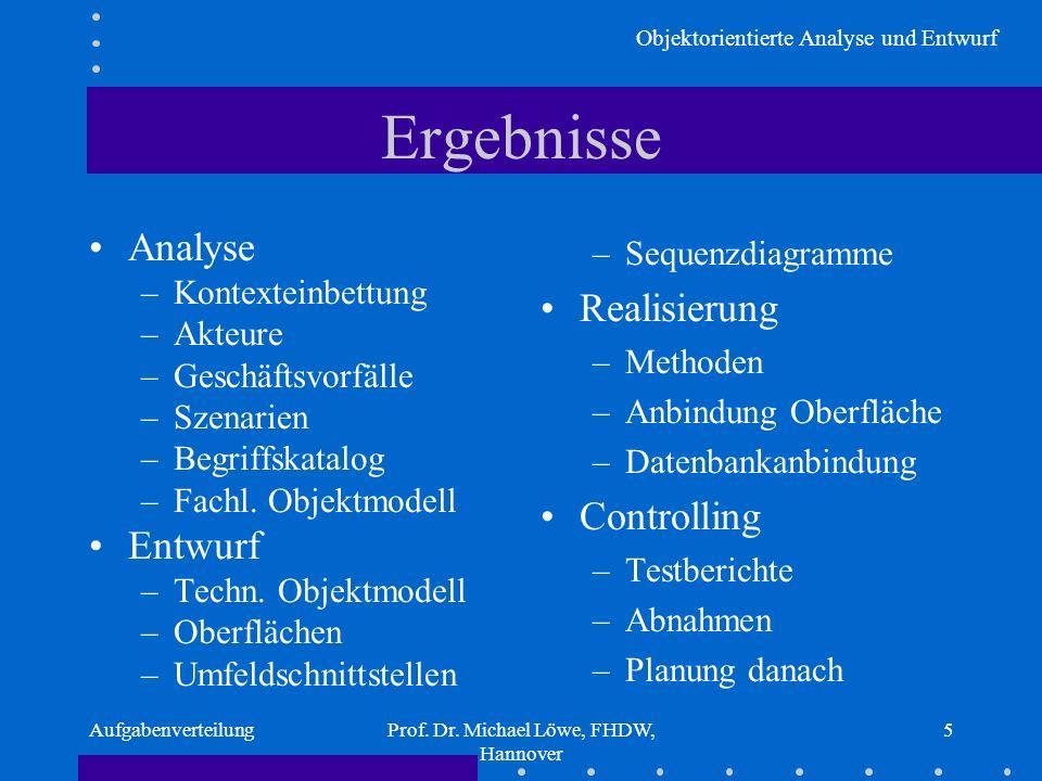 Objektorientierte Analyse und Entwurf AufgabenverteilungProf. Dr. Michael Löwe, FHDW, Hannover 5 Ergebnisse Analyse –Kontexteinbettung –Akteure –Gesch