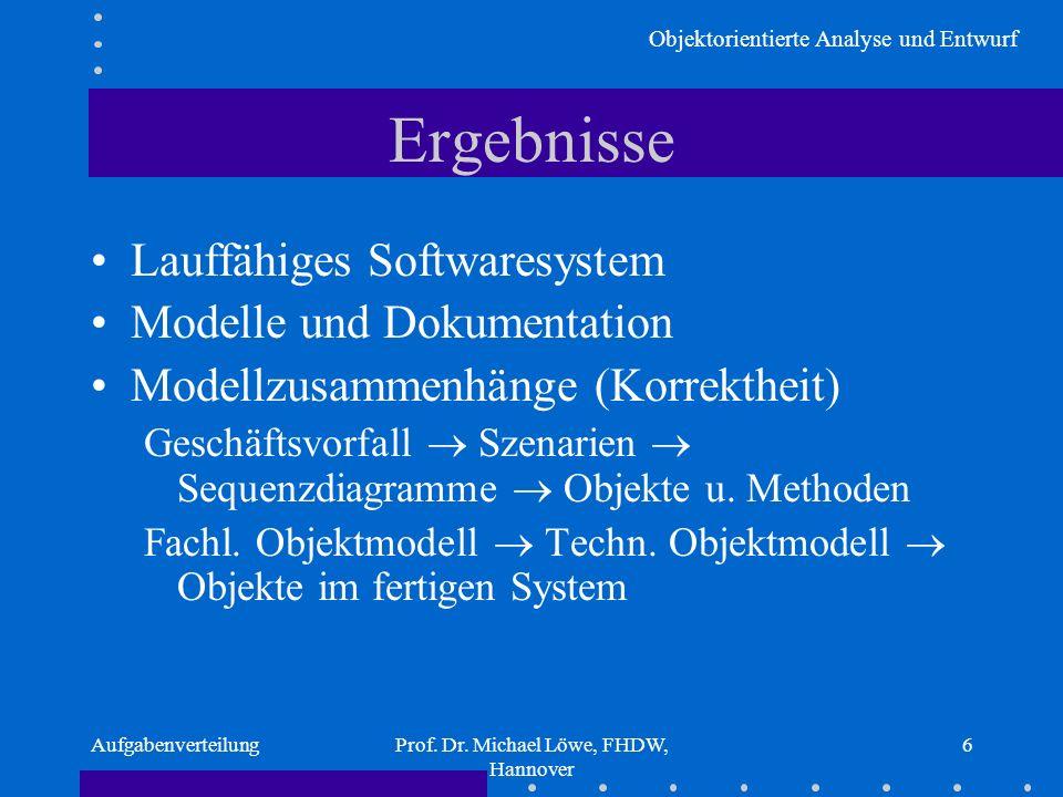 Objektorientierte Analyse und Entwurf AufgabenverteilungProf. Dr. Michael Löwe, FHDW, Hannover 6 Ergebnisse Lauffähiges Softwaresystem Modelle und Dok