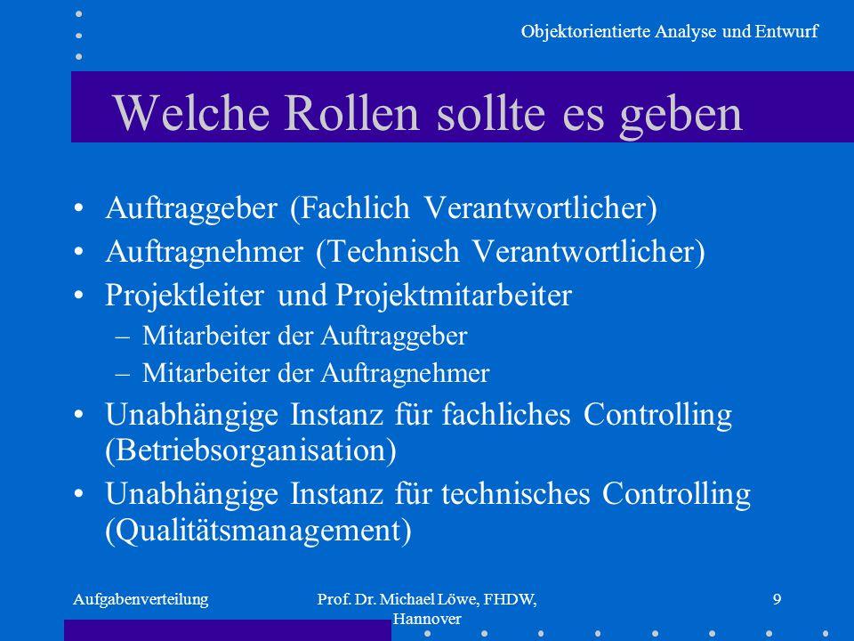 Objektorientierte Analyse und Entwurf AufgabenverteilungProf. Dr. Michael Löwe, FHDW, Hannover 9 Welche Rollen sollte es geben Auftraggeber (Fachlich