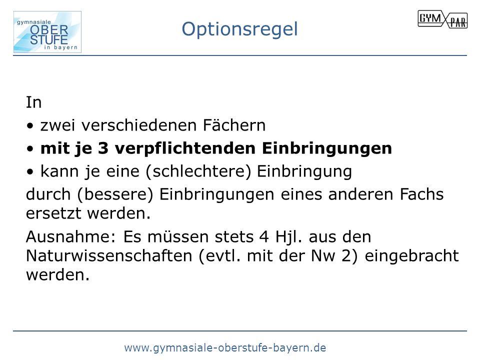 www.gymnasiale-oberstufe-bayern.de Optionsregel In zwei verschiedenen Fächern mit je 3 verpflichtenden Einbringungen kann je eine (schlechtere) Einbri
