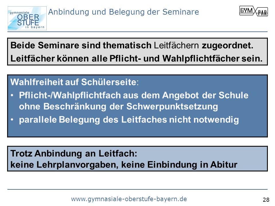 www.gymnasiale-oberstufe-bayern.de 28 Anbindung und Belegung der Seminare Beide Seminare sind thematisch Leitfächern zugeordnet. Leitfächer können all