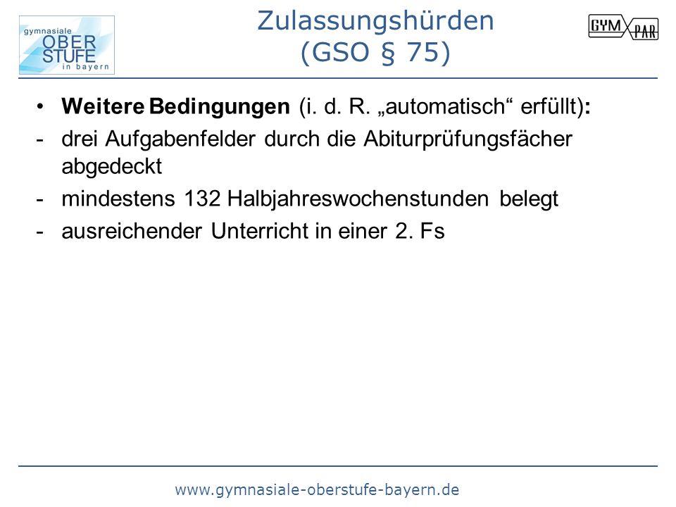 www.gymnasiale-oberstufe-bayern.de Weitere Bedingungen (i. d. R. automatisch erfüllt): -drei Aufgabenfelder durch die Abiturprüfungsfächer abgedeckt -