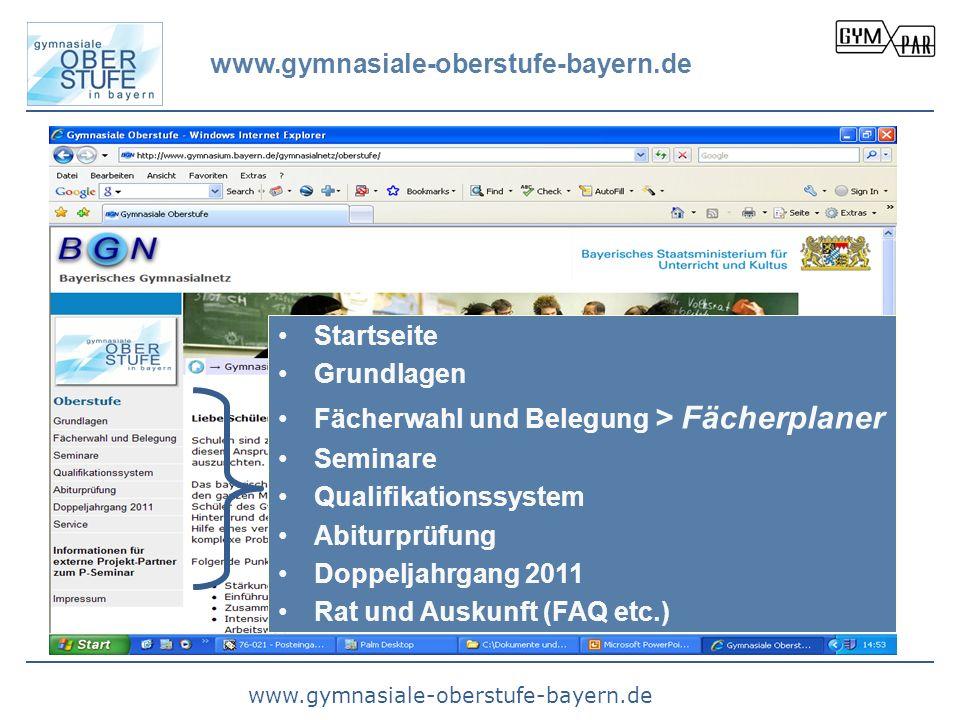 www.gymnasiale-oberstufe-bayern.de Startseite Grundlagen Fächerwahl und Belegung > Fächerplaner Seminare Qualifikationssystem Abiturprüfung Doppeljahr