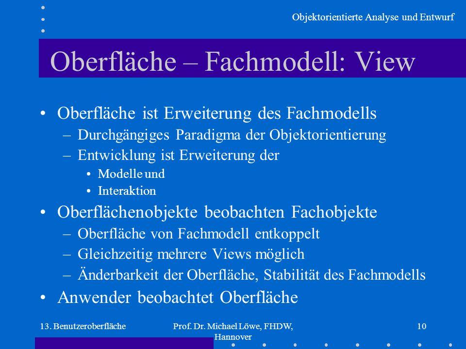 Objektorientierte Analyse und Entwurf 13. BenutzeroberflächeProf. Dr. Michael Löwe, FHDW, Hannover 10 Oberfläche – Fachmodell: View Oberfläche ist Erw