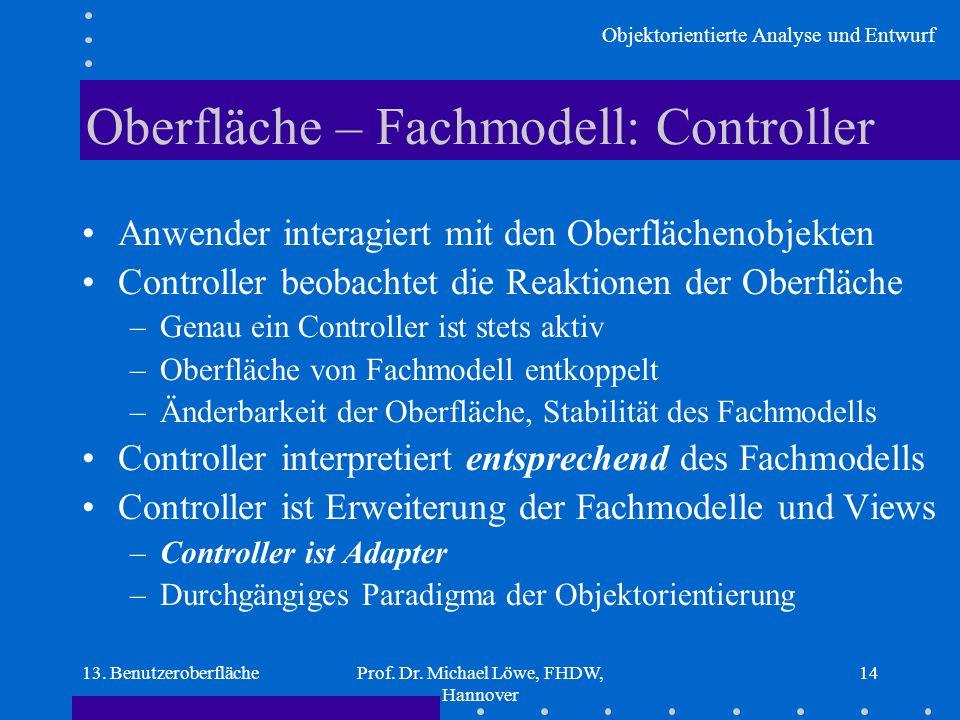 Objektorientierte Analyse und Entwurf 13. BenutzeroberflächeProf. Dr. Michael Löwe, FHDW, Hannover 14 Oberfläche – Fachmodell: Controller Anwender int