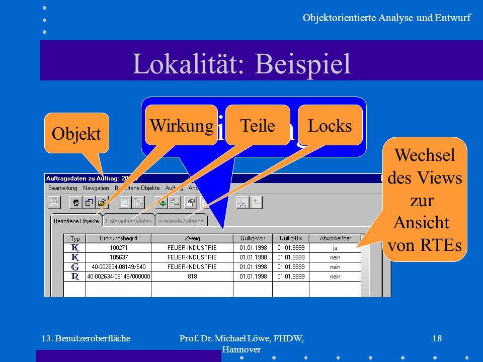 Objektorientierte Analyse und Entwurf 13. BenutzeroberflächeProf. Dr. Michael Löwe, FHDW, Hannover 18 Beziehungen Lokalität: Beispiel Objekt WirkungTe