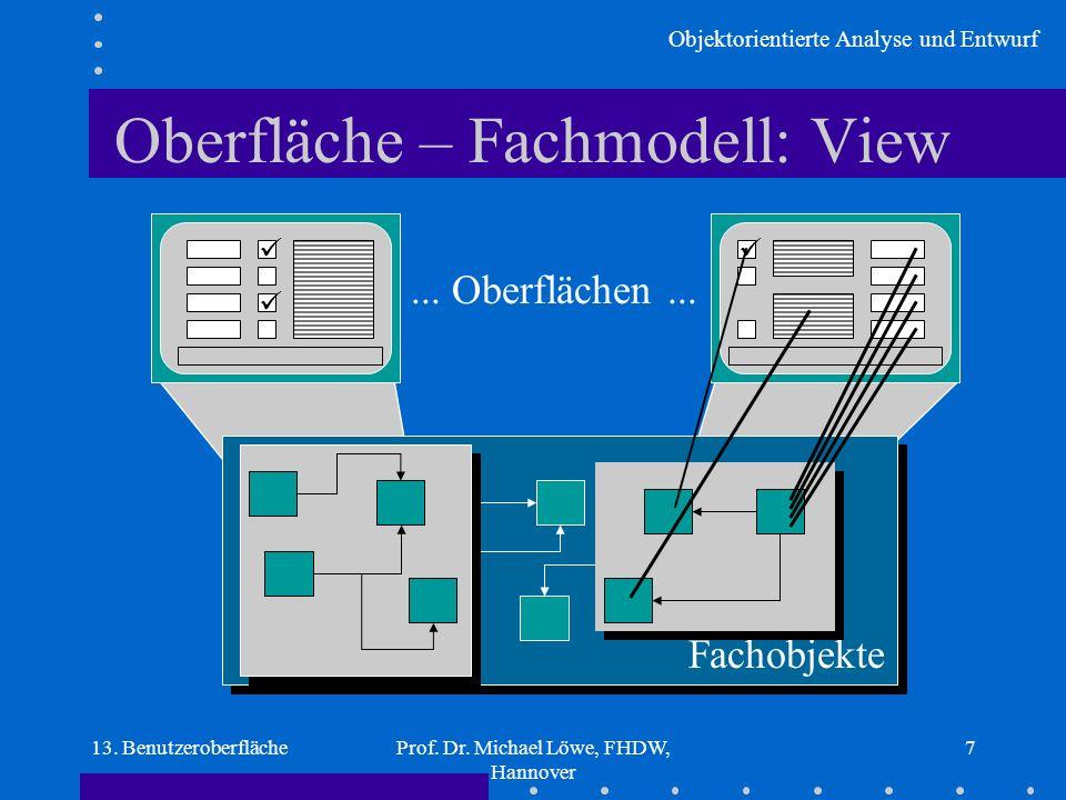 Objektorientierte Analyse und Entwurf 13. BenutzeroberflächeProf. Dr. Michael Löwe, FHDW, Hannover 7 Oberfläche – Fachmodell: View Fachobjekte... Ober