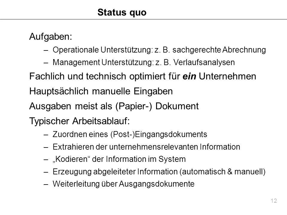 12 Status quo Aufgaben: –Operationale Unterstützung: z. B. sachgerechte Abrechnung –Management Unterstützung: z. B. Verlaufsanalysen Fachlich und tech