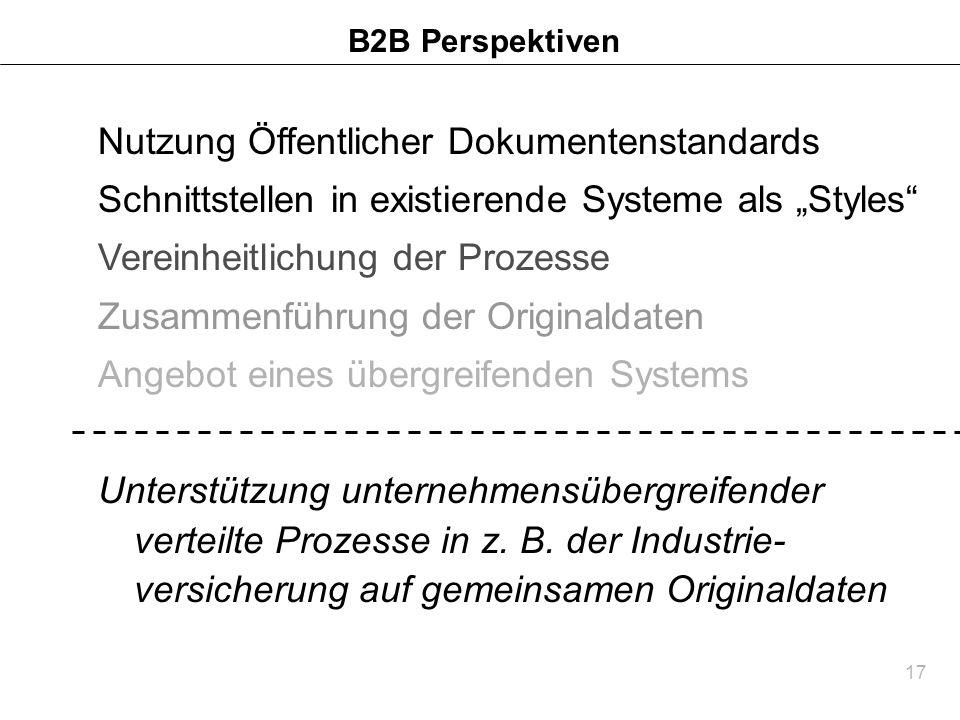 17 B2B Perspektiven Nutzung Öffentlicher Dokumentenstandards Schnittstellen in existierende Systeme als Styles Vereinheitlichung der Prozesse Zusammen