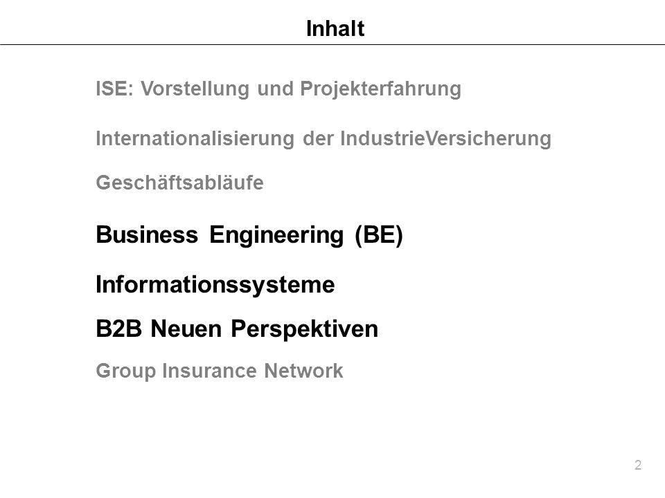 2 Inhalt B2B Neuen Perspektiven Group Insurance Network ISE: Vorstellung und Projekterfahrung Internationalisierung der IndustrieVersicherung Geschäft