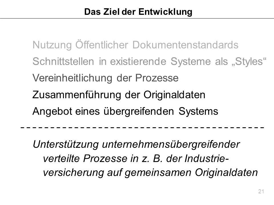 21 Das Ziel der Entwicklung Nutzung Öffentlicher Dokumentenstandards Schnittstellen in existierende Systeme als Styles Vereinheitlichung der Prozesse