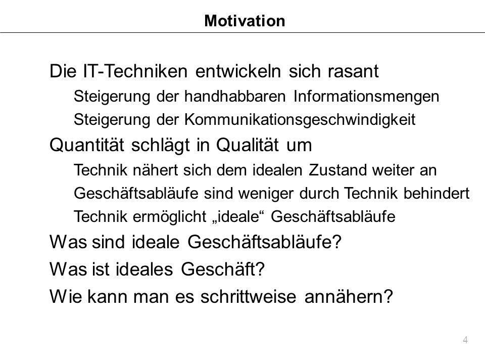 4 Motivation Die IT-Techniken entwickeln sich rasant Steigerung der handhabbaren Informationsmengen Steigerung der Kommunikationsgeschwindigkeit Quant