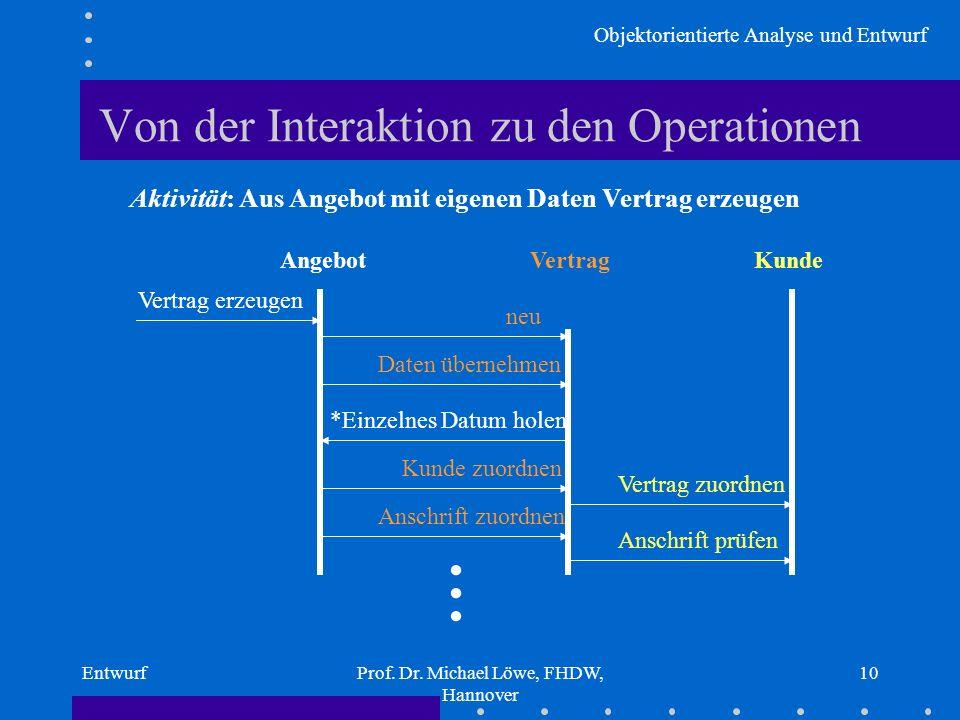 Objektorientierte Analyse und Entwurf EntwurfProf. Dr. Michael Löwe, FHDW, Hannover 10 Von der Interaktion zu den Operationen Aktivität: Aus Angebot m
