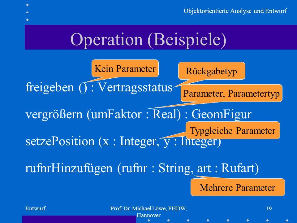 Objektorientierte Analyse und Entwurf EntwurfProf. Dr. Michael Löwe, FHDW, Hannover 19 Operation (Beispiele) freigeben () : Vertragsstatus vergrößern