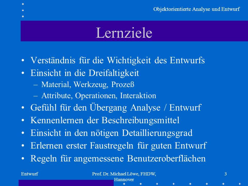 Objektorientierte Analyse und Entwurf EntwurfProf. Dr. Michael Löwe, FHDW, Hannover 3 Lernziele Verständnis für die Wichtigkeit des Entwurfs Einsicht