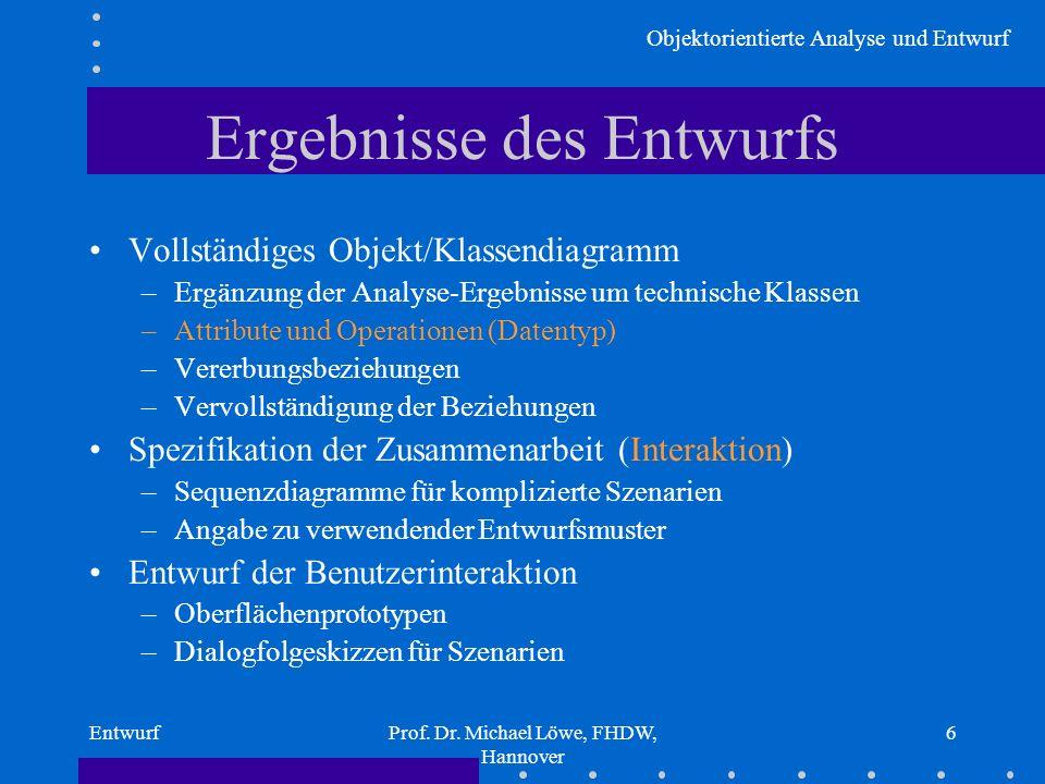 Objektorientierte Analyse und Entwurf EntwurfProf. Dr. Michael Löwe, FHDW, Hannover 6 Ergebnisse des Entwurfs Vollständiges Objekt/Klassendiagramm –Er