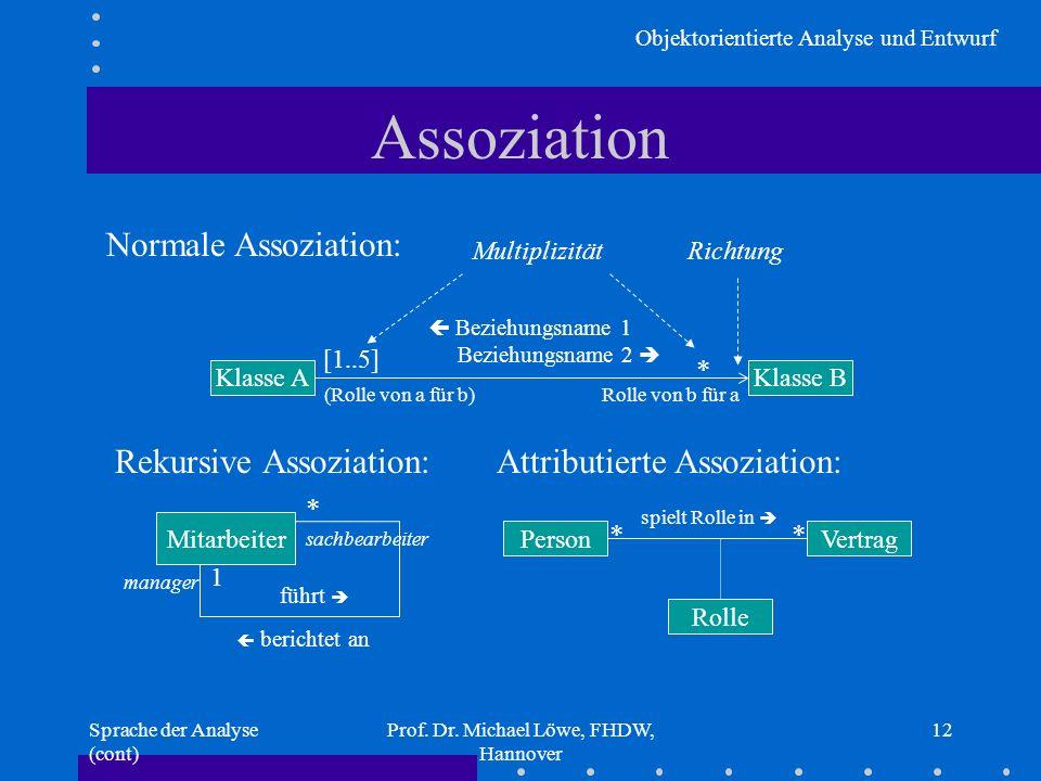 Objektorientierte Analyse und Entwurf Sprache der Analyse (cont) Prof. Dr. Michael Löwe, FHDW, Hannover 12 Assoziation Rekursive Assoziation: Mitarbei