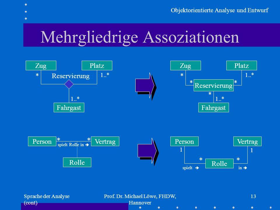 Objektorientierte Analyse und Entwurf Sprache der Analyse (cont) Prof. Dr. Michael Löwe, FHDW, Hannover 13 Mehrgliedrige Assoziationen ZugPlatz Fahrga