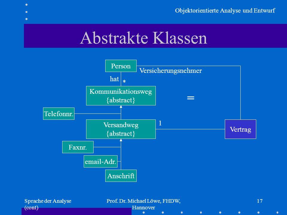 Objektorientierte Analyse und Entwurf Sprache der Analyse (cont) Prof. Dr. Michael Löwe, FHDW, Hannover 17 Abstrakte Klassen Person Telefonnr. Faxnr.
