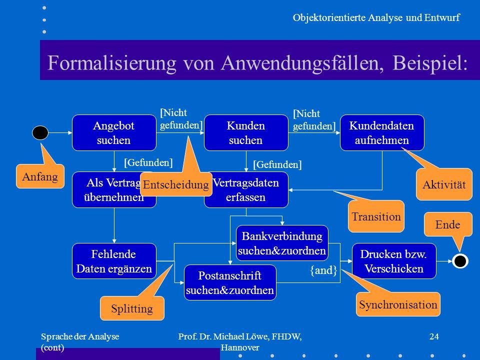 Objektorientierte Analyse und Entwurf Sprache der Analyse (cont) Prof. Dr. Michael Löwe, FHDW, Hannover 24 Angebot suchen Als Vertrag übernehmen Fehle