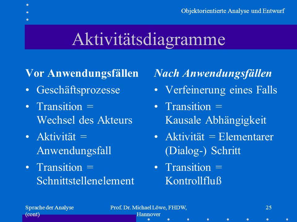 Objektorientierte Analyse und Entwurf Sprache der Analyse (cont) Prof. Dr. Michael Löwe, FHDW, Hannover 25 Aktivitätsdiagramme Vor Anwendungsfällen Ge