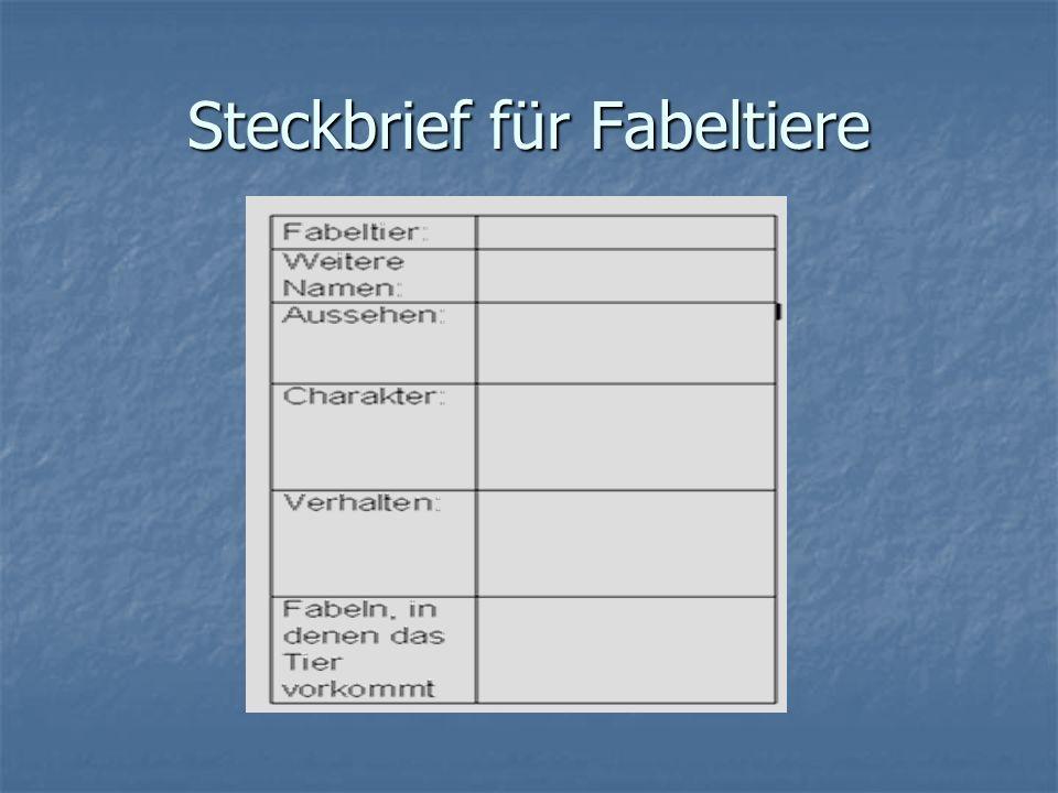 Steckbrief für Fabeltiere